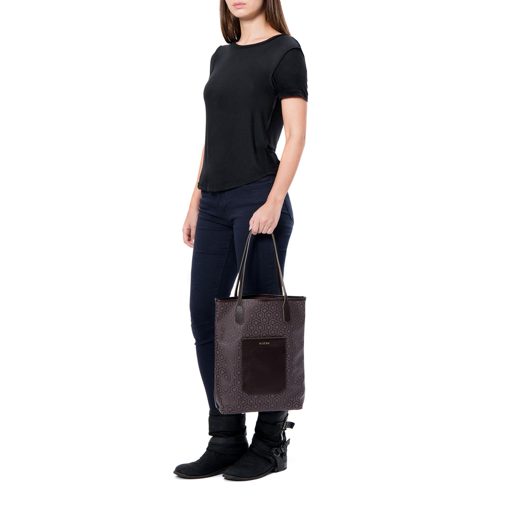 MISCHA Vertical Tote - Rosewood (model shot)