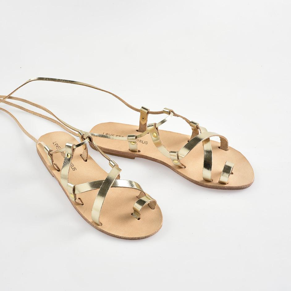 Alasia Lifestyle Meropi Lace Up Sandals - Metallic Gold