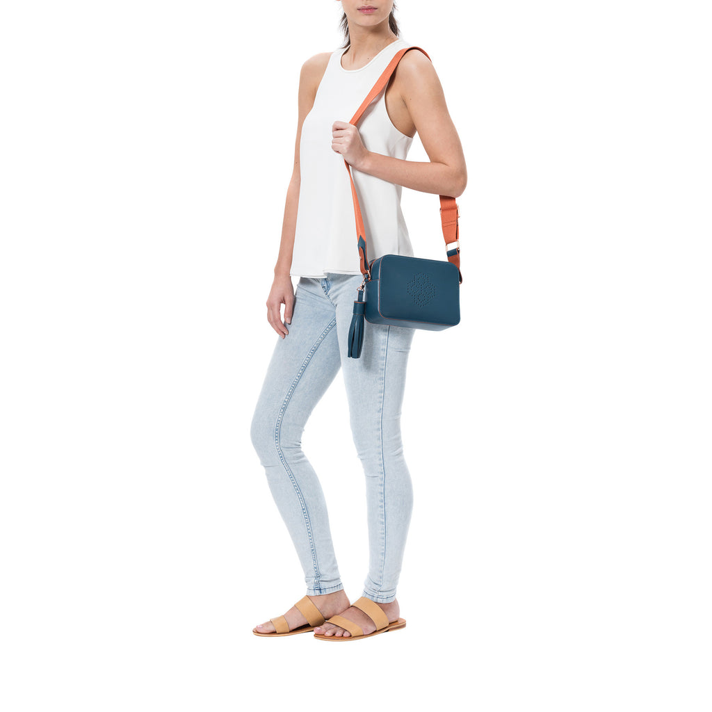 MISCHA Monogram Crossbody - Fern (model shot)