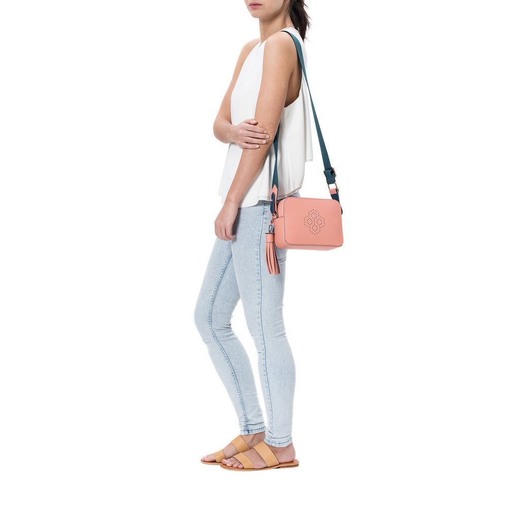 MISCHA Monogram Crossbody - Rose (model shot)