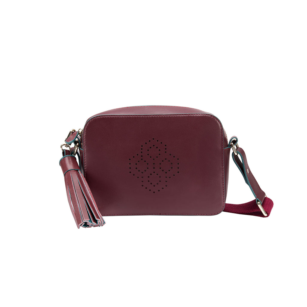 MISCHA Monogram Crossbody - Burgundy