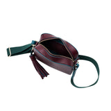 MISCHA Monogram Crossbody - Burgundy (with green strap)