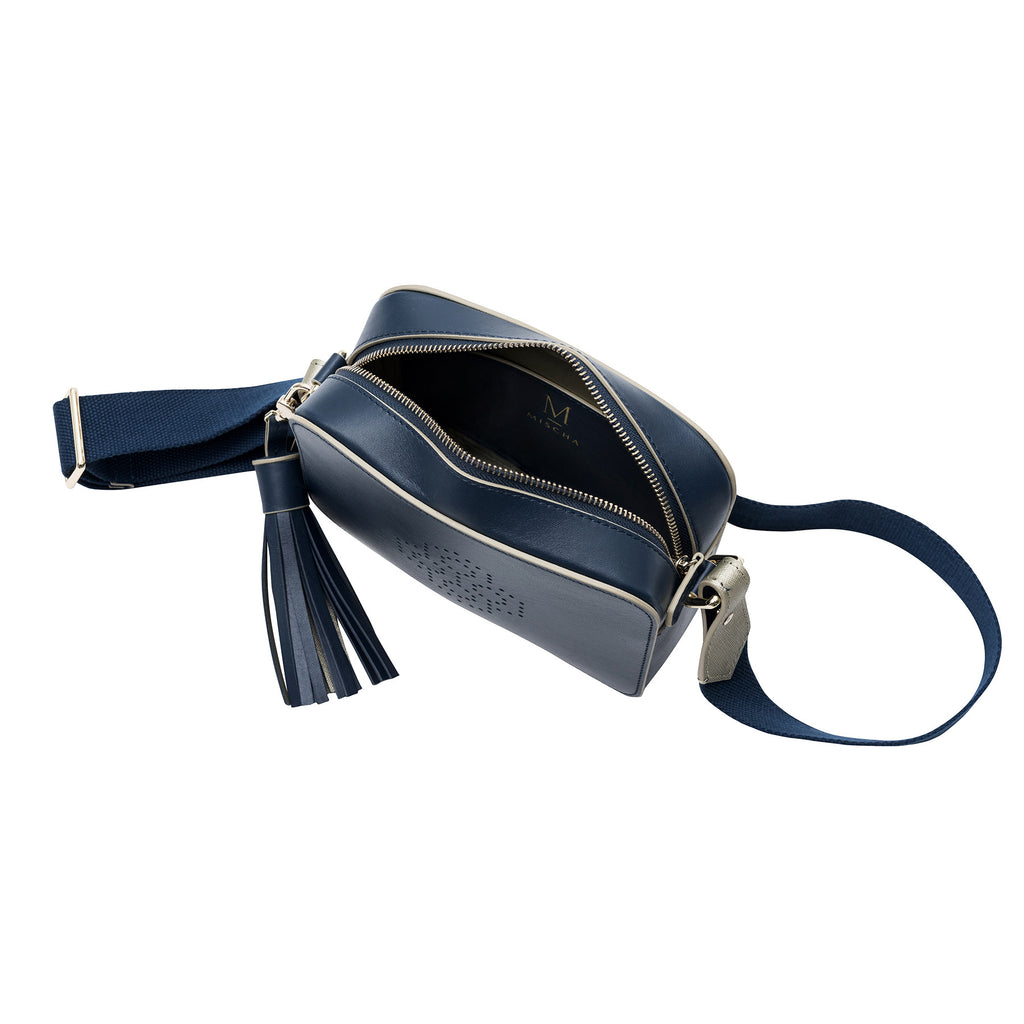 MISCHA Monogram Crossbody - Navy (open view with navy strap)