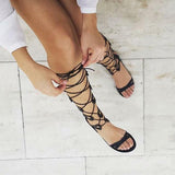 Alasia Lifestyle Athena Knee High Gladiator Sandals - Black