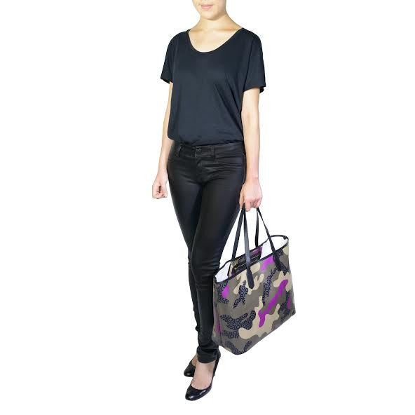 MISCHA Jet Set Tote - Camo Orchid (model shot)