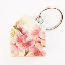 Load image into Gallery viewer, Wooden House Key Ring with Floral Reverse