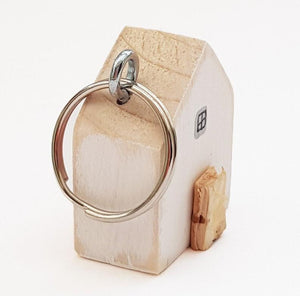 Wooden House Key Ring with Floral Reverse