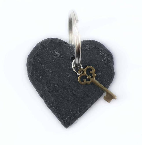 Keyring with Small Slate Heart and Key Charm