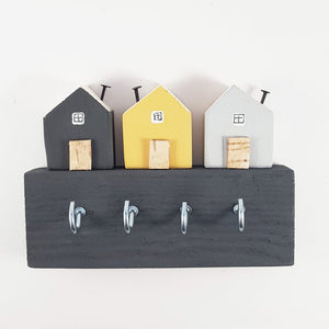 Key Holder with Grey and Yellow Wooden Houses