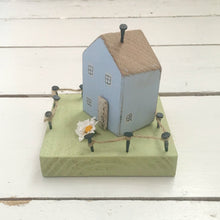 Load image into Gallery viewer, Blue Miniature Wooden Cottage Ornament