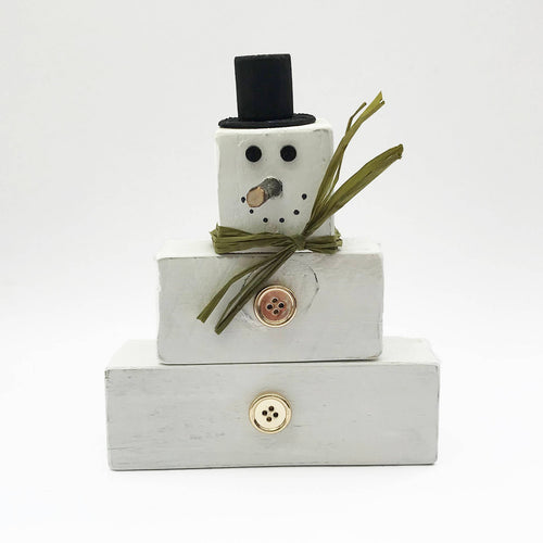 Wooden Snowman Blocks Christmas Decorations