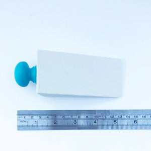 Handmade White and Blue Wood Door Stop