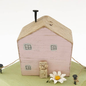Little House Ornaments Pink Cottage