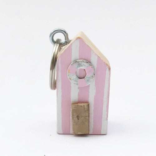 Pink Beach Hut Keychain