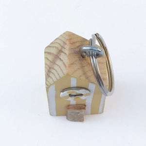 Wooden Nautical Keyring Miniature Beach Hut Wood Gift