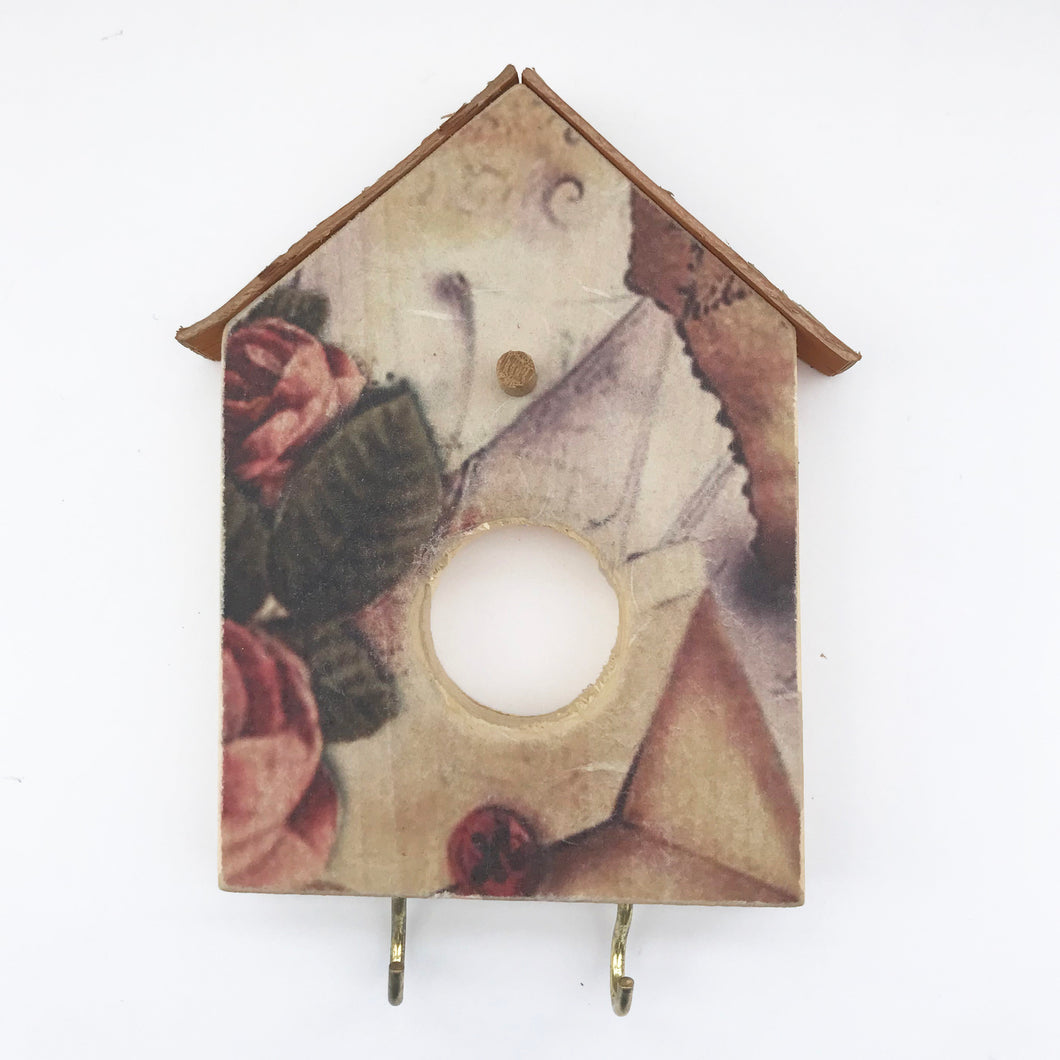 Decoupage Key Holder for Wall Bird House Key Holder