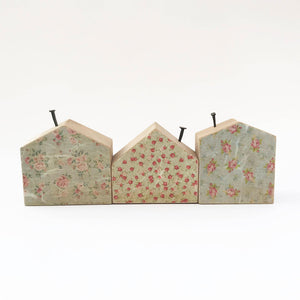 Wooden House Decoration with Floral Patterns Small Wooden Gifts Wood Decor
