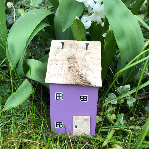 Wood House Purple Garden Decor