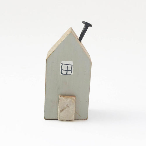 Wooden House Magnet Fridge Miniature Grey Wooden House