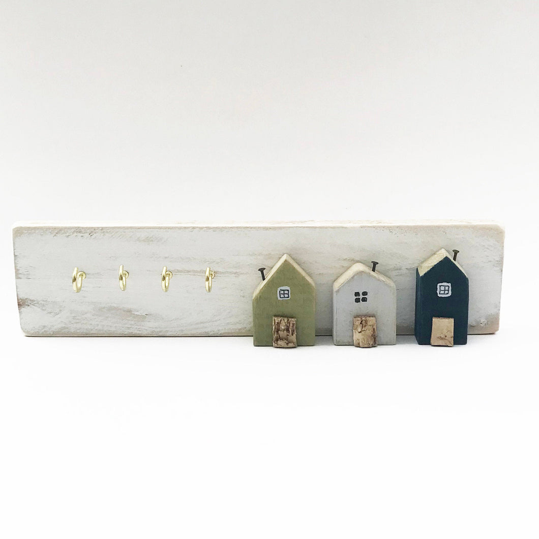 Pallet Wood Key Rack, Key Holder with Miniature Houses, Wooden Key Hooks, Key Holder for Wall, Key Hook, Key Hanger, Wooden Key Holder, Keys