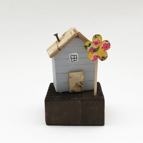 Tiny Grey House Ornament with Yellow Floral Button Tree