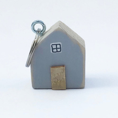 Wood House Keychain Grey Key Ring Tiny Gifts