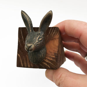 Wooden Door Stop with Hare's Head