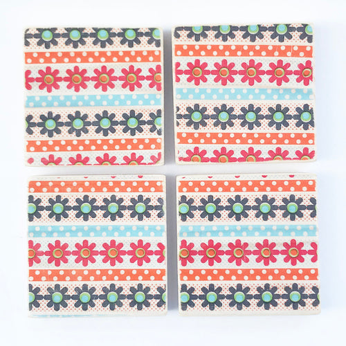 Retro Flower Pattern Coaster Set ***REDUCED***