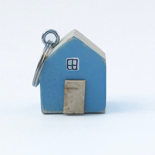 Wooden House Keychain with Floral Pattern Reverse Wooden Gifts