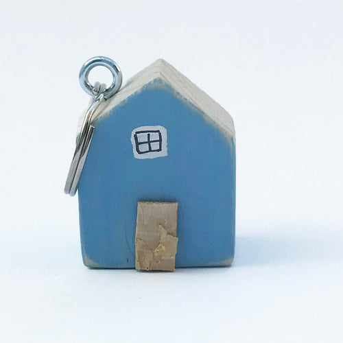 Wooden House Keyring New Home Key Chain