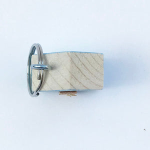 Wooden Blue House Key Ring