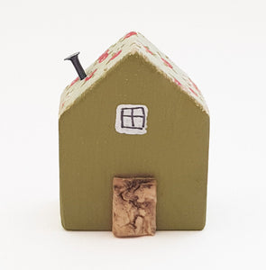 Tiny Wood House with Floral Decoupage Roof