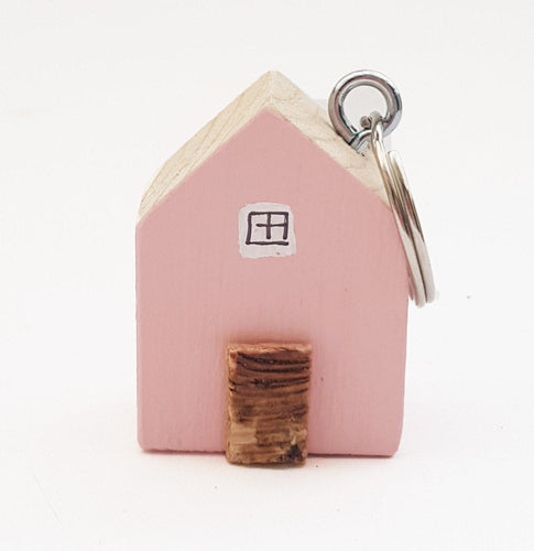 Keychain Cottage with Floral Reverse Pink Keyring Wooden House Keyring
