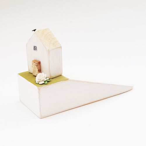 Wooden Door Stop with Tiny House Tiny House Gift - Painted in a colour of your choice