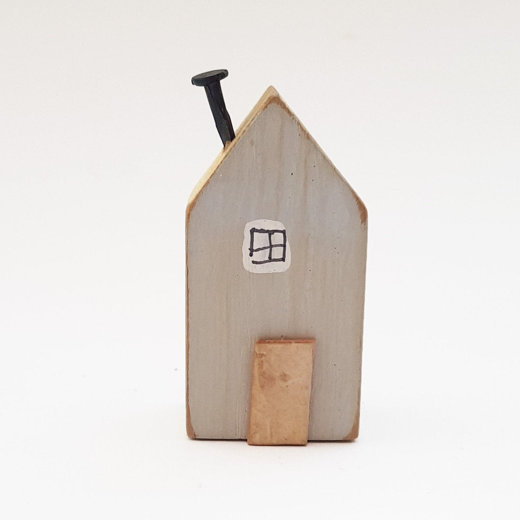 Grey Tiny Wood House Miniature Wooden Houses Tiny Houses Knick Knacks Rustic Wood Mini Art Tiny Gifts Mini House Wooden Houses