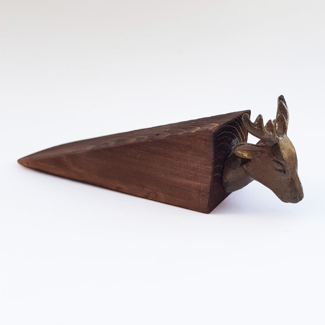 Stag Head Door Stop - Dark Wood