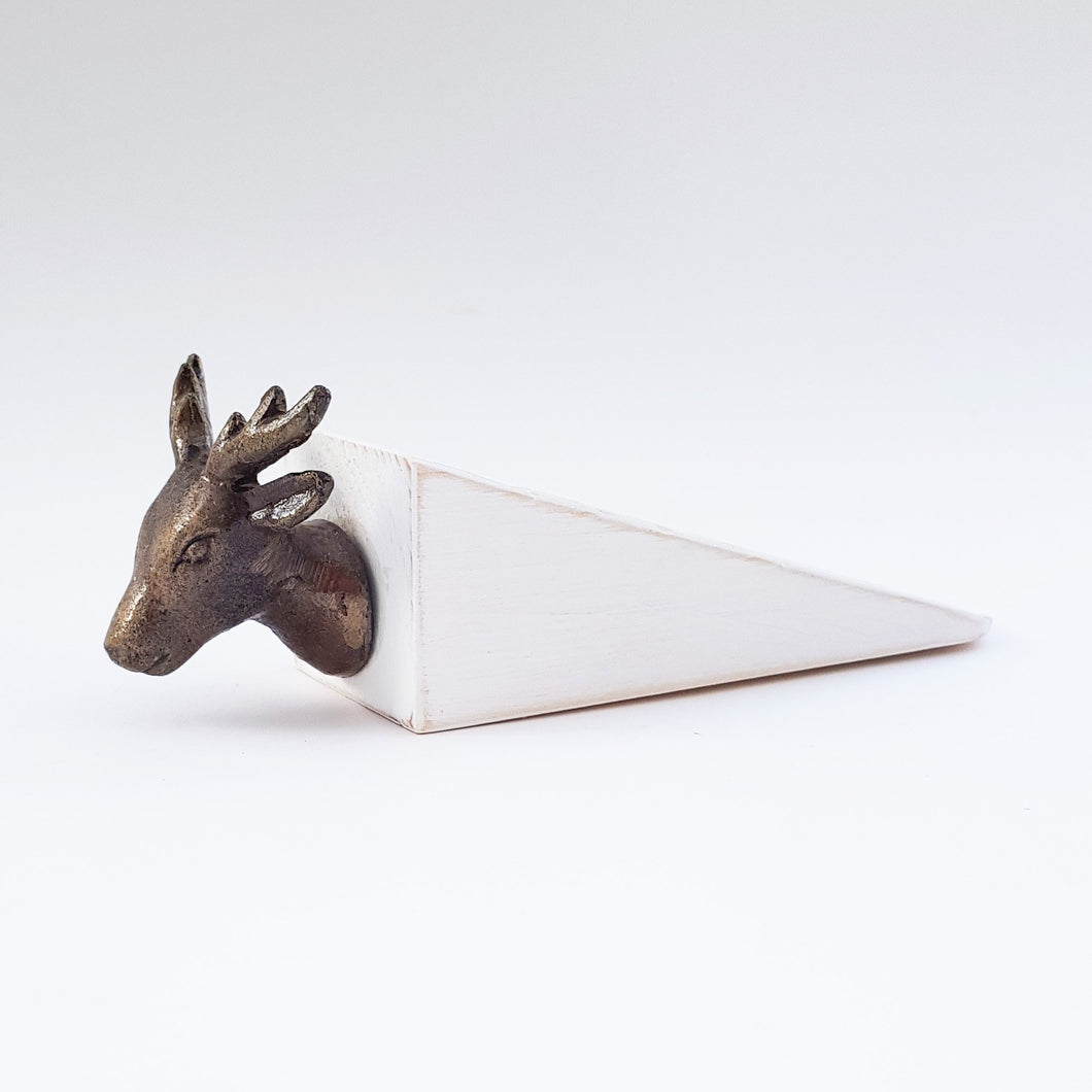 Stag Head Door Stop - White Wood