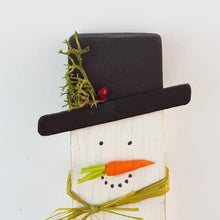 Load image into Gallery viewer, Tiny Wood Snowman Ornament
