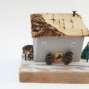 Wooden House Winter Scene Christmas Decoration