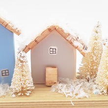 Load image into Gallery viewer, Wooden Cottages with Snow Christmas Decor