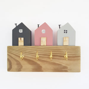 Key Holder for Wall with Grey and Pink Wooden Houses