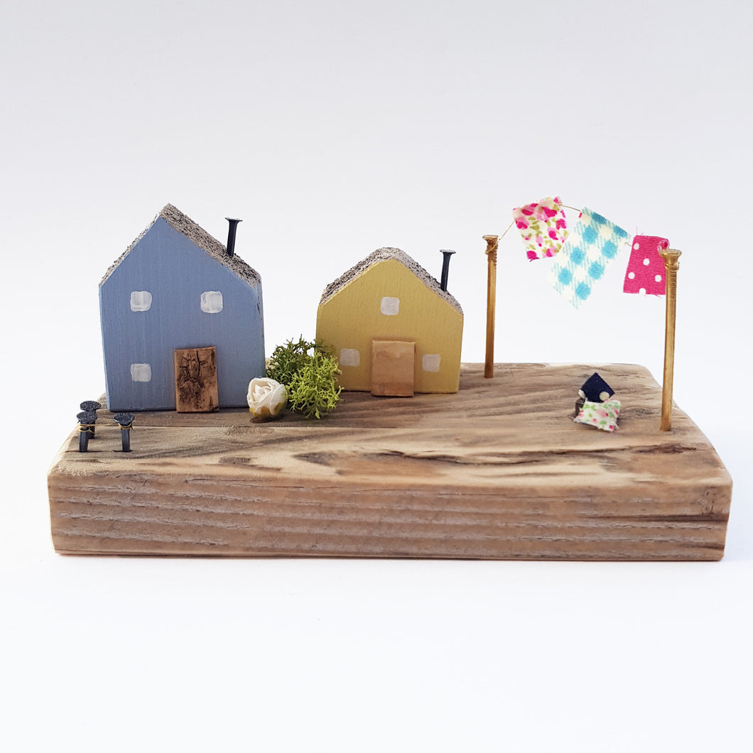 Miniature Wooden Houses Diorama Ornaments for Shelf