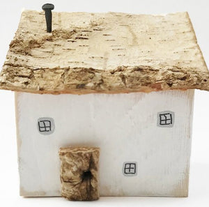 Cottage Wood House Wood Ornament - Painted in a colour of your choice