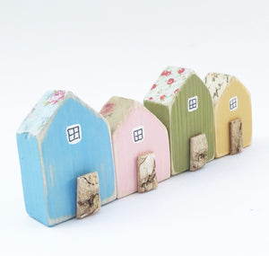 Tiny Row of Wooden Houses Mini Wooden House Ornaments Unique Gift for Her