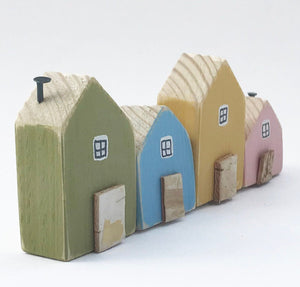 Tiny Painted Houses Wooden Houses Ornament