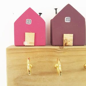Key Holder for Wall with Little Pink Houses - Choose Brass or Silver Hooks