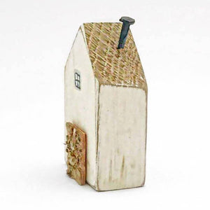 Reclaimed Wood Houses Tiny Wooden House with Vintage Style Bird Pattern on reverse