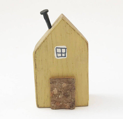 Wooden Tiny House with Butterfly Pattern on reverse Shelf Ornaments Decor