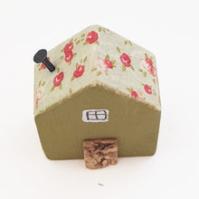 Load image into Gallery viewer, Tiny Wood House with Floral Decoupage Roof