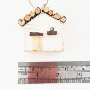 Tiny Wooden Log Cabin Christmas Tree Ornament
